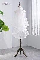 אורך אצבע 2 שכבות לבנה שנהב בעבודת יד רצועת כלים חתונת רעלה כלה אבזרים עם מסרק לכלה