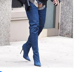 2017 Special Fashion Women Over-the -knee Spring/Autumn Dark Blue Boots Pointed Toe Thin and High Heels Shoes велосипед altair city high 28 19 2015 dark blue
