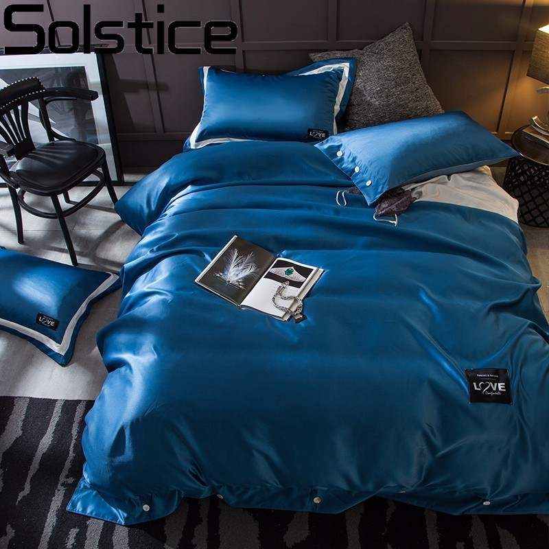 Solstice Home Textile Cotton Satin Luxury 4pcs Bedding Set Solid Color Bed Linen Bedclothes Bed Sheet Duvet Cover Set PillowcaseSolstice Home Textile Cotton Satin Luxury 4pcs Bedding Set Solid Color Bed Linen Bedclothes Bed Sheet Duvet Cover Set Pillowcase