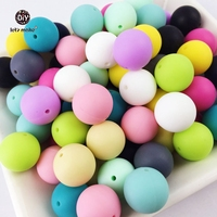 Let's Make 100pc Silicone Baby Teething Teether Beads 12- 20mm Safe Food Grade Nursing Chewing Round Silicone Beads Necklace