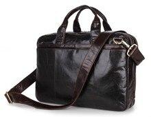 "Maxdo Dark Coffee Vintage Men Genuine Leather Briefcase Messenger Bags Portfolio Business Travel 14"" Laptop Bag #M7092-2"