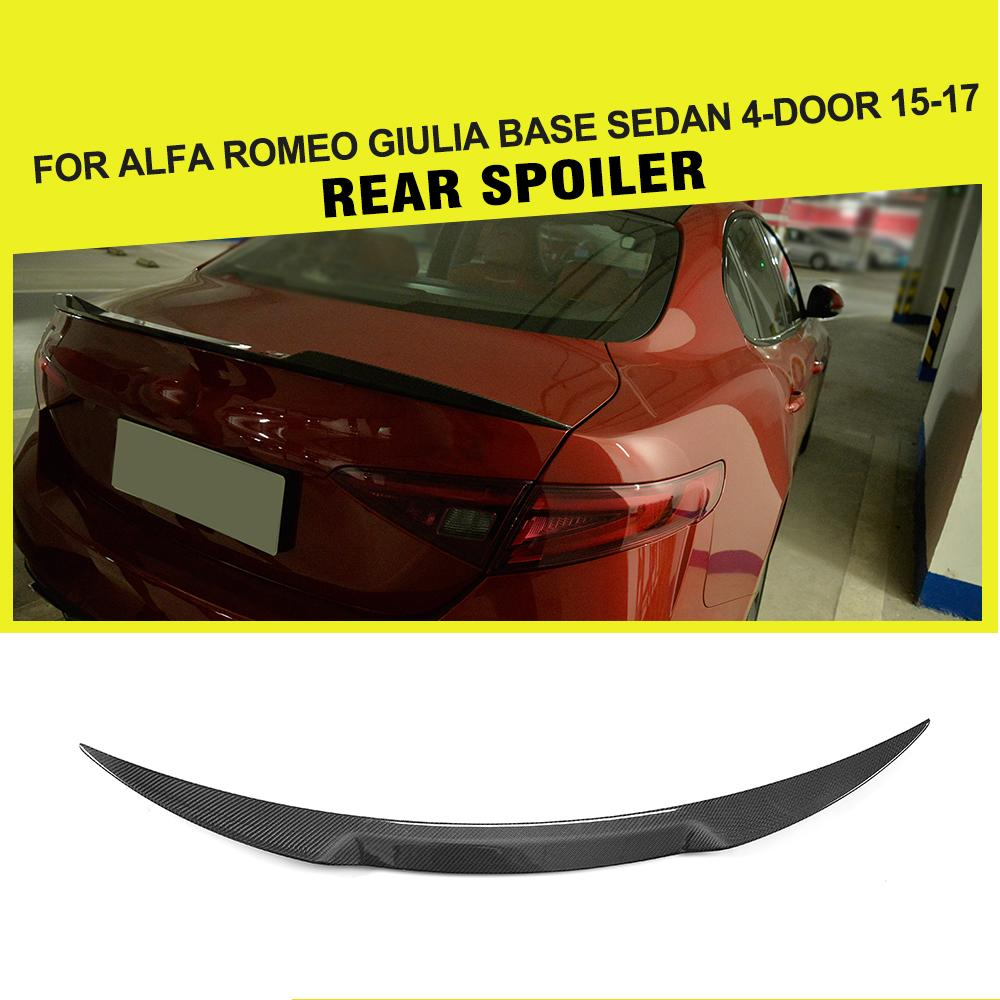 Carbon Fiber / FRP Car Rear Spoiler Wing Trunk Lip for Alfa Romeo Giulia Spoiler Sedan 2015 - 2017