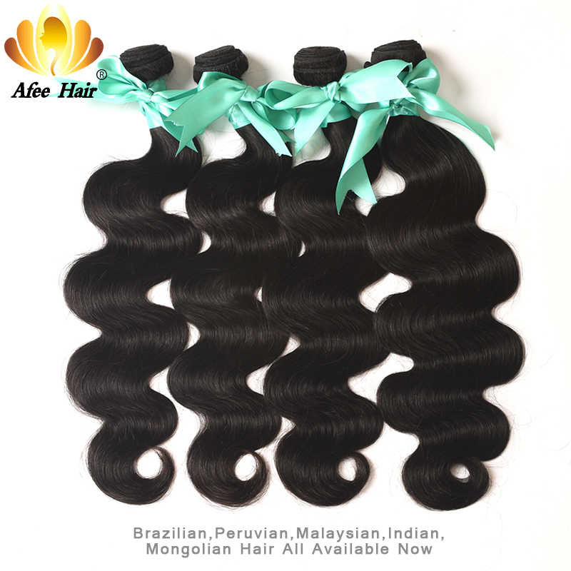 Aliafee Hair Brazilian Hair Weave Bundles #1b/#4/27/30/#99 Colored Body Wave 4 Bundles Deal 100% Human Hair Extension Non Remy