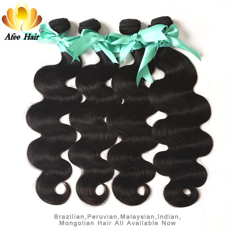 Aliafee Hair Brasilian Body Wave 4 Bundles Deal Brasilian Hair Weave - Menneskelig hår (for svart)