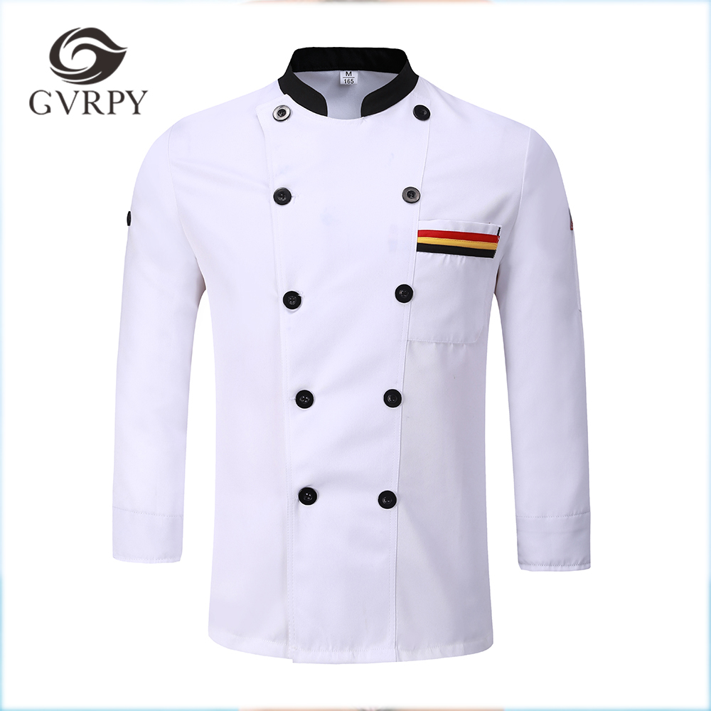 6 Colors M-3XL Unisex Wholesale Chef Work Uniforms Restaurant Bakery Kitchen Work Wear Cloth Long Sleeve Breathable Cook Jackets
