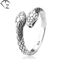 Vintage Punk S925 Solid Thai Silver Open Size Snake Ring 100 Pure 925 Sterling Silver Rings