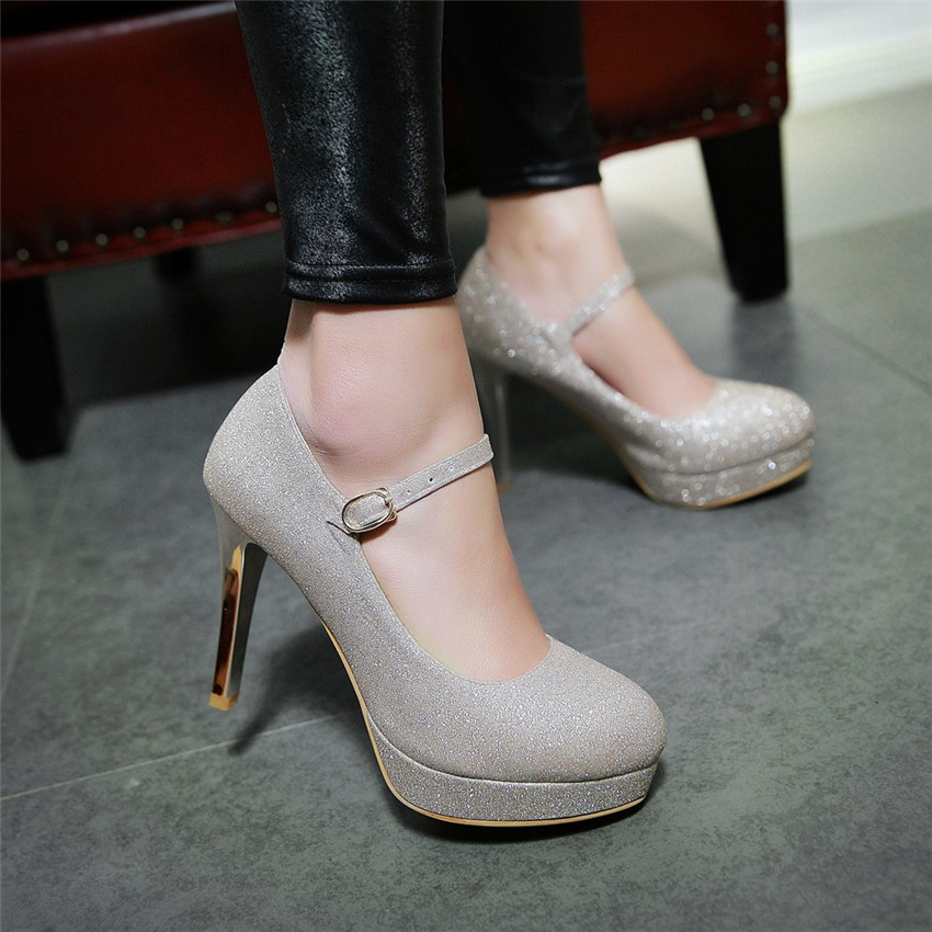 Women High Heel Shoes Platform Pumps Woman Thin High Heels Party Wedding Shoes Ladies Kitten Heels Plus Size 34 - 40 41 42 43