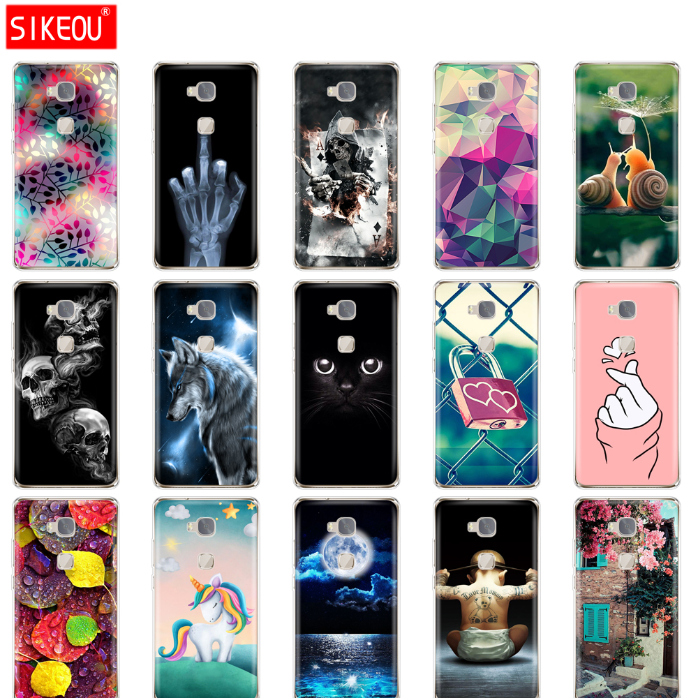 Cover Phone Case For Huawei Honor 5X Soft Tpu Silicone Back Cover 360 Full Protective Printing Transparent Clear Coque Flower