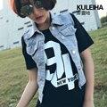 Abrigos botón bolsillos remache venta de bienes 2016 summer dress coreano versión De La Chaqueta de Color Puro de la Solapa de Vaquero mujer chaquetas H6