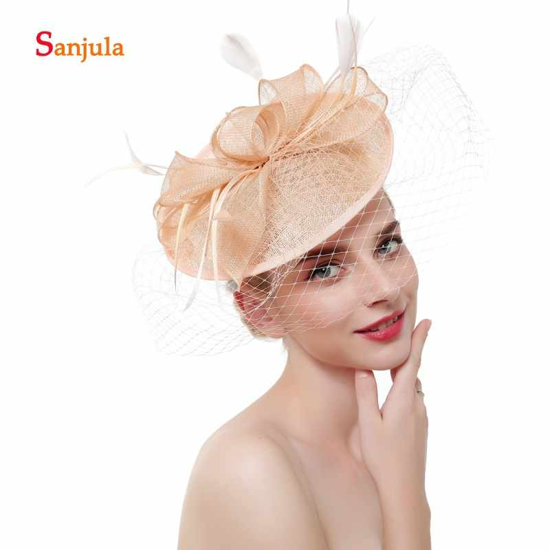e4ef64e22c428 Champagne Linen Wedding Hats and Fascinators for Bridal Wedding Hats with Face  Veil Elegant Women Party
