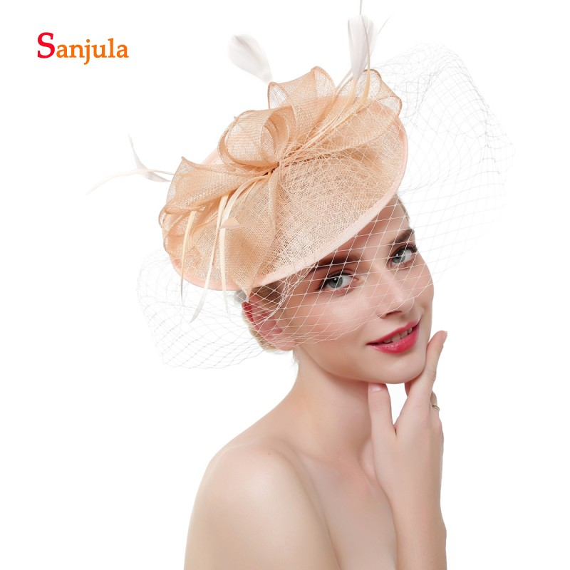 Champagne Linen Wedding Hats and Fascinators for Bridal Headwear with Face Veil Elegant Women Party Hat sombrero boda H169