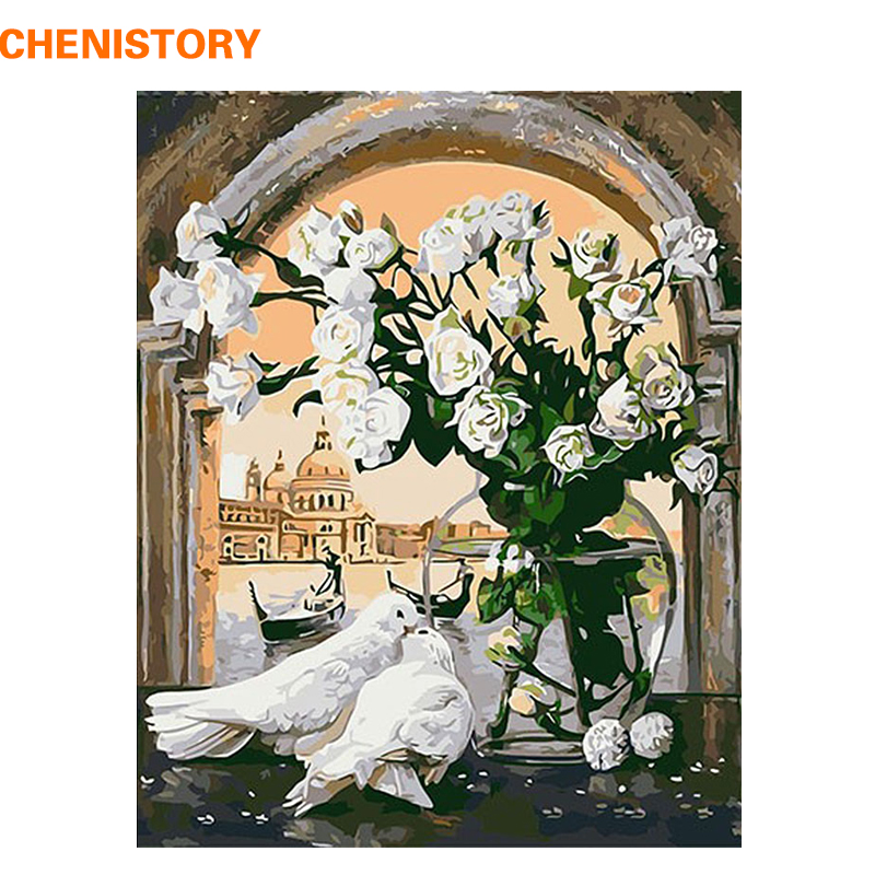 CHENISTORY White Flower And Pigeon Drawing Abstrak Dengan Nombor Cat Akrilik Dengan Nombor Mewarna Dengan Nombor Untuk Hiasan Dinding Rumah