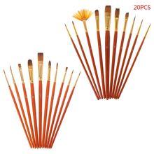 цена на 20Pcs Artist Paint Brush Set Nylon Hair Watercolor Acrylic Oil Painting Drawing Supplies  Painting Brush