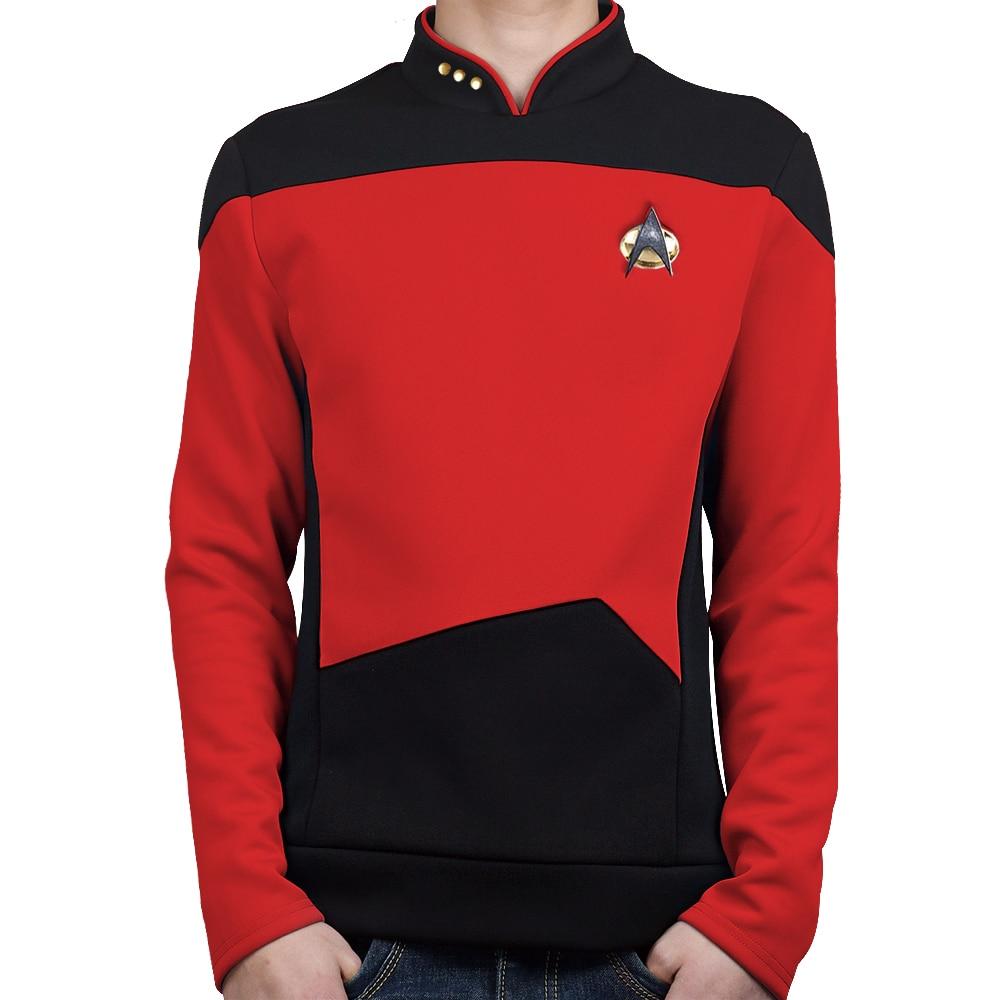 Star TNG The Next Generation Trek Red Shirt Uniform Cosplay Costume For Men Coat Halloween Party Prop(China)