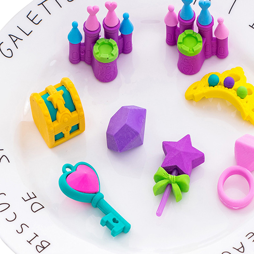 8packs/lot New Princess Castle Series Princess Eraser Set