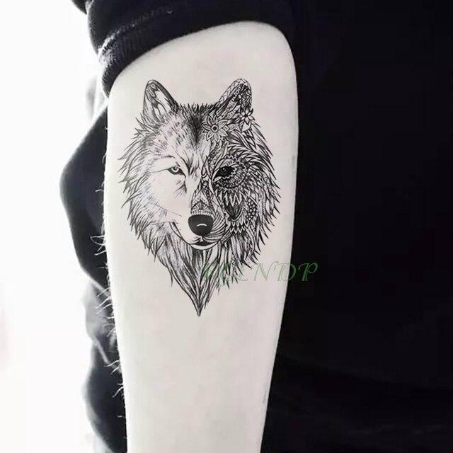 Tatuaje temporal impermeable pegatina Animal Lobo León águila Tatto Flash tatuo mano muñeca pie brazo cuello falso tatuajes para hombres las mujeres