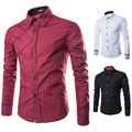 2016 Men'S Fashion Casual Solid Color Long Sleeve Shirt, Male Camisas Hombre Slim Designer Masculina M ~ XXL 3 Color XL