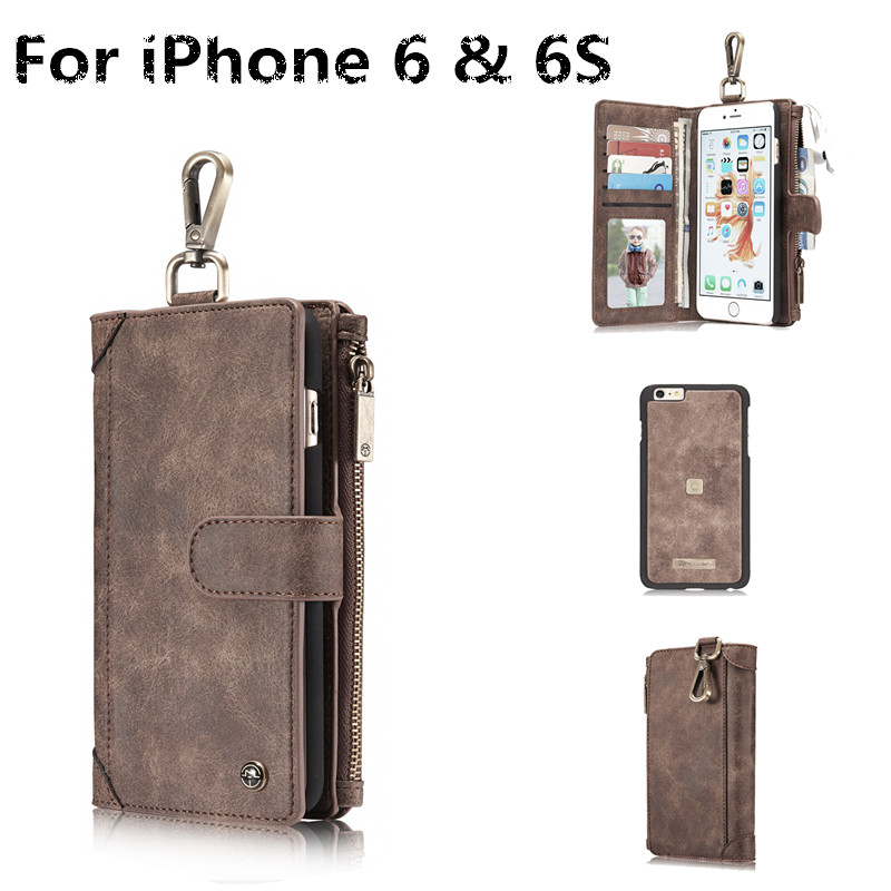 CaseMe Brand For Apple iPhone 6 & 6S S Case Luxury Ms Genuine Leather craft phone Cover Wallet Magnet Flip Stent Card slot Cases