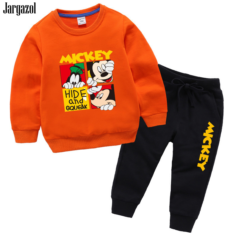 все цены на Baby Boys Clothes Cartoon Minnie Mickey Printed Girls Clothing Set Autumn Long Sleeve Sweatshirt Vetement Enfant Fille Tracksuit