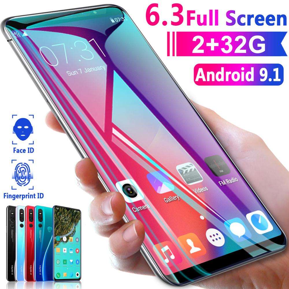 6.3 Inch Big Screen 3800mAh P30 Pro 2GB RAM 32GB ROM Fingerprint Face Id 3G Smartphone MTK6735 Android 9.1 Mobile Phone