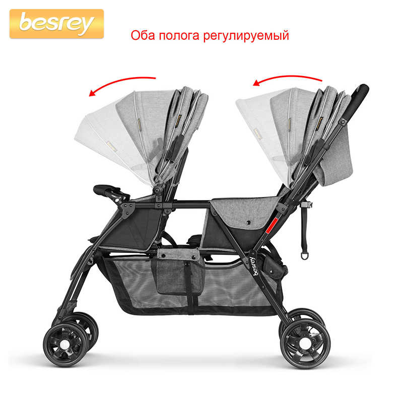 Besrey Double Baby Stroller For Twins Big Pushchair Newborn Baby Buggy Foldable Pram Infant Toddler Carriage Lying And Sitting