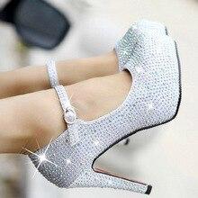 Strass Weiß Hochzeit Schuhe mode Damen Kleid Schuhe Brauthochzeitsschuhe Party Prom Kristall Brautjungfer Schuhe