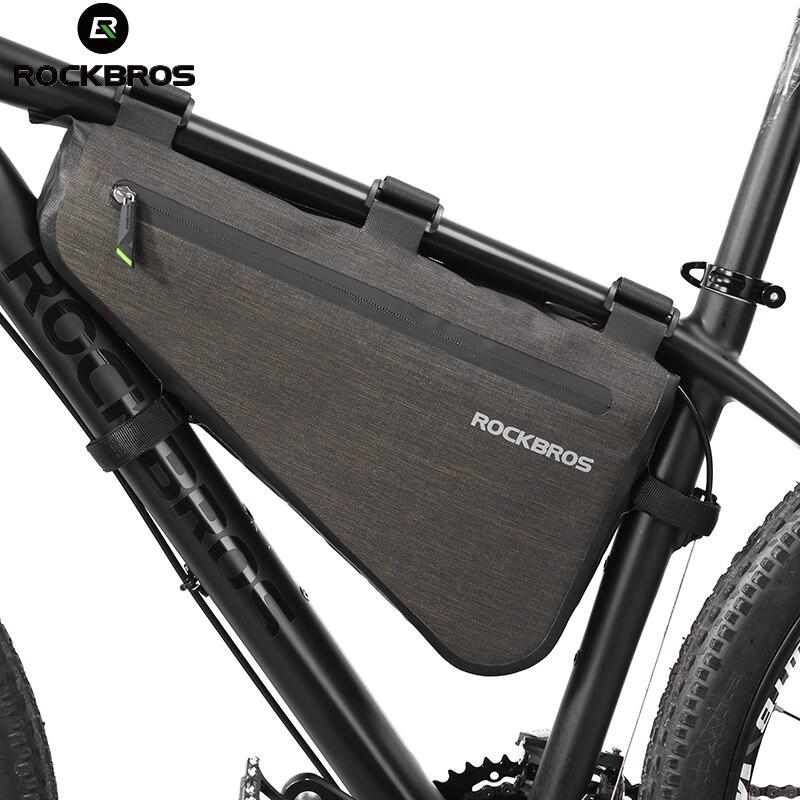 Велосипед ROCKBROS сумка непромокаемая большая емкость MTB Дорожная рамка сумка треугольная сумка водостойкая чеканка сумка корзинка аксессуар...