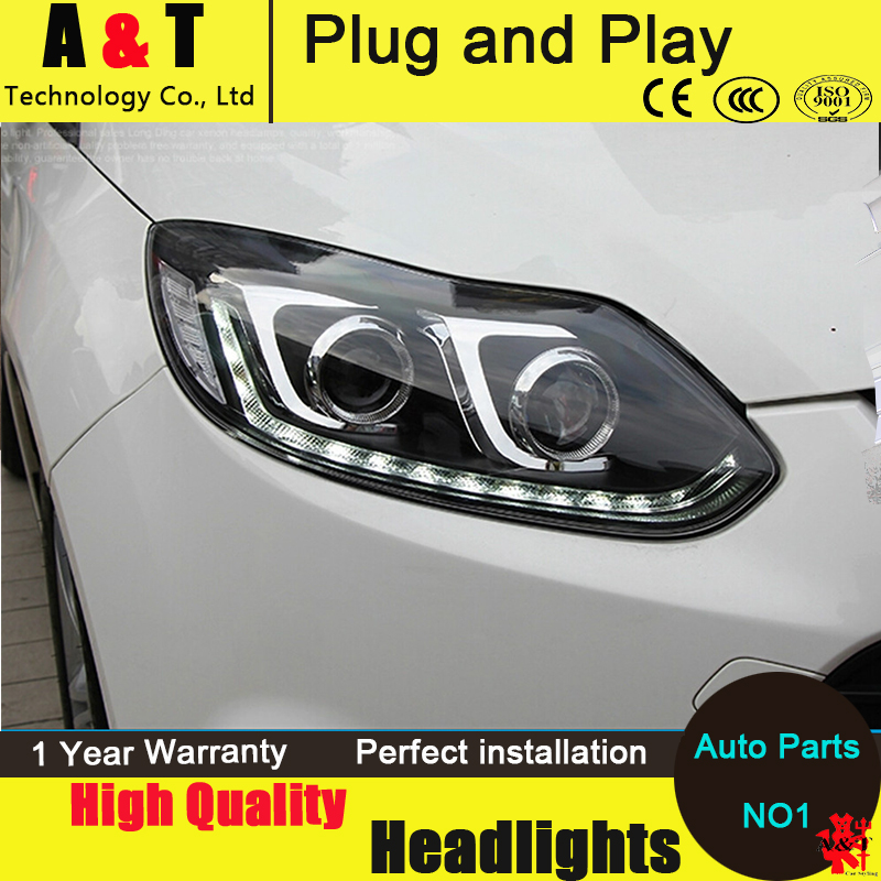 Auto Lighting Style LED Head Lamp for Ford Focus 3 led headlights 2012-2014 cob signal led drl H7 hid Bi-Xenon Lens low beam car headlights for ford focus 3 sedan hatchback 2015 2016 2017 led headlight kit head lights drl turning lights auto front lamps