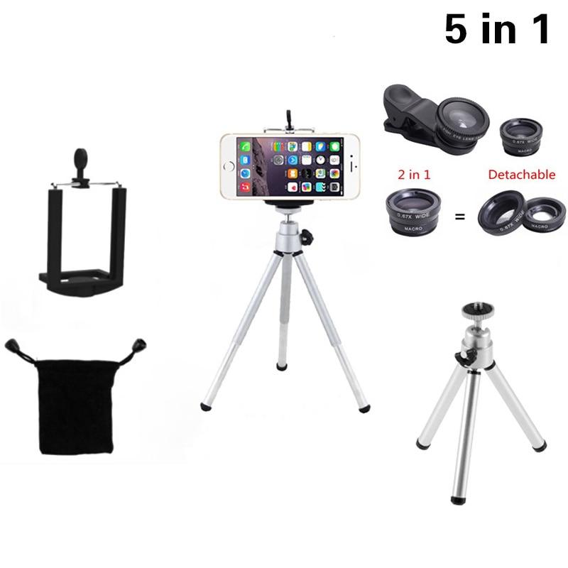 5in1 Kit Phone Camera Lenses Kit 3in1 Fish Eye Wide Angle Macro Lens Universal Mini Tripod For Sumsung S3 S4 S5 S6 S7 Edge S8 S9