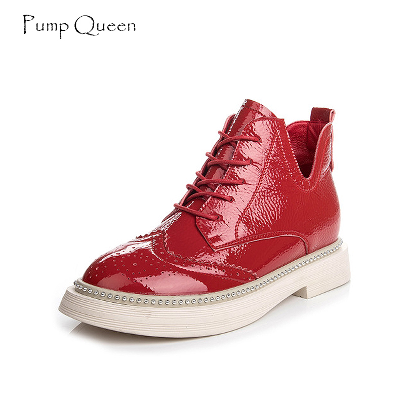 PumpQueen Red Martin Boots Women Lace Up V Ankle Boots Flats White Female Autumn Motorcycle Boots Fashion Brogue Patent Leather 2018 new spring autumn fashion martin boots male high top casual canvas motorcycle boots flats lace up ankle army boots qa 05