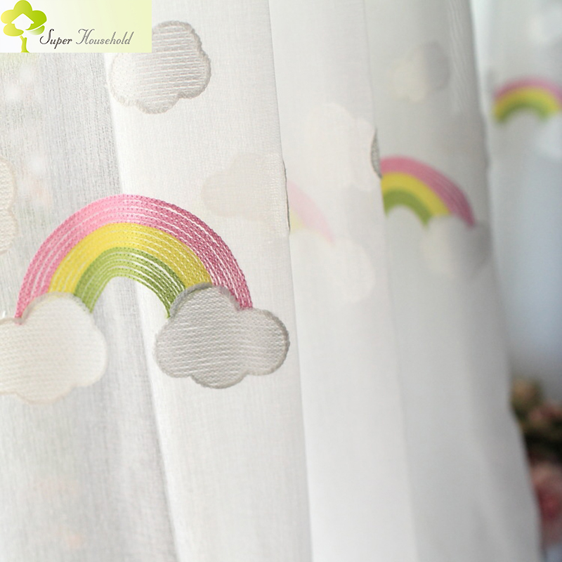 Cartoon Rainbow Clouds Broderede Tulle Børn Gardiner til Kids Bedroom Window Behandlinger Køkken Gardiner til Dagligstue