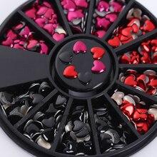 1 коробка, Стразы для ногтей, дизайн сердца, смешанный цвет, красный, черный, 3D дизайн ногтей, украшение в колесиках, маникюр, сделай сам, украшение для ногтей