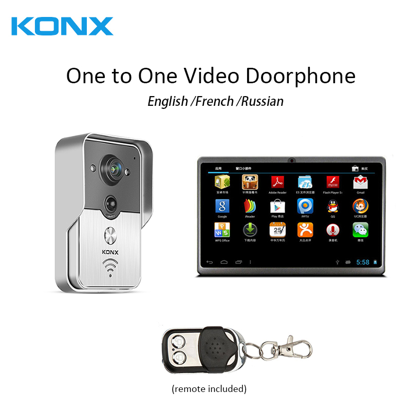 WiFi Wireless one to one Video DoorPhone intercom Doorbell IR Night Vision 7Inch indoor video doorphone