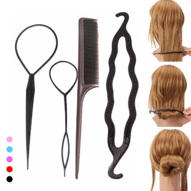 4PCS/Lot Hair Braiding Twist Styling Tool Plastic Hair Styling ...