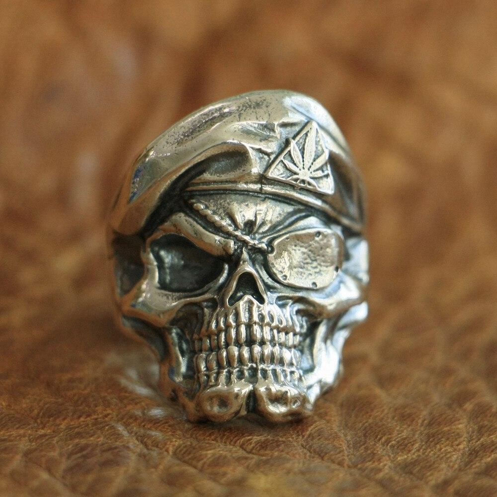 LINSION 925 Sterling Silver Pirate Skull Ring Mens Biker Punk Ring TA99 US Size 7 15