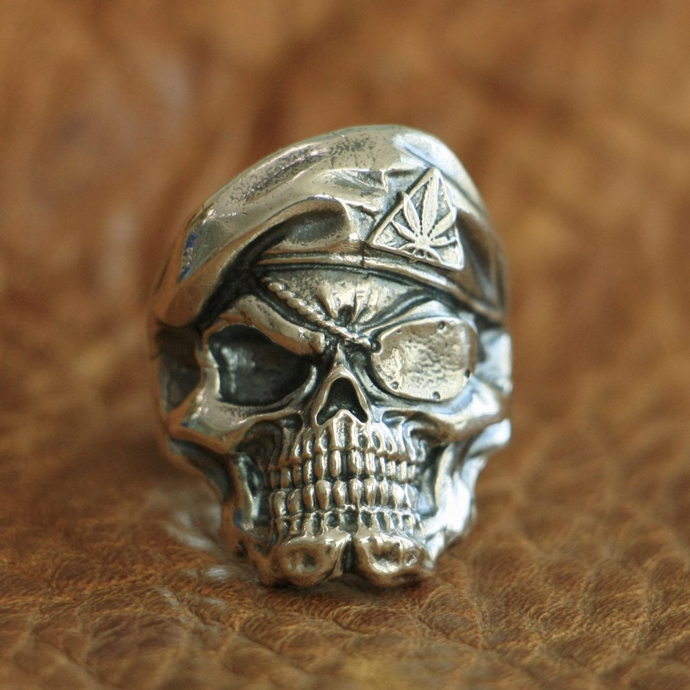 LINSION 925 Sterling Silver Pirate Skull Ring Mens Biker Punk Ring TA99 US Size 7~15