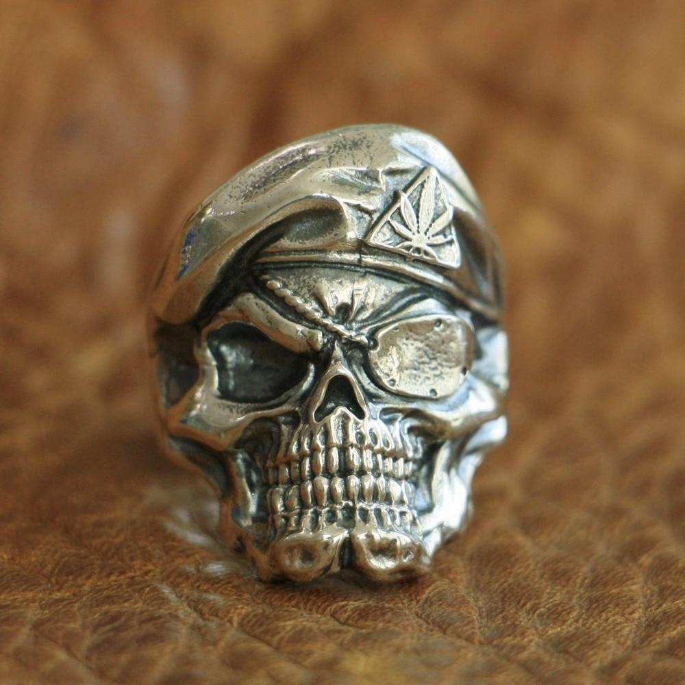 LINSION 925 Sterling Zilver Piraat Schedel Ring Mens Biker Punk Ring TA99 US Size 7 ~ 15-in Ringen van Sieraden & accessoires op  Groep 1