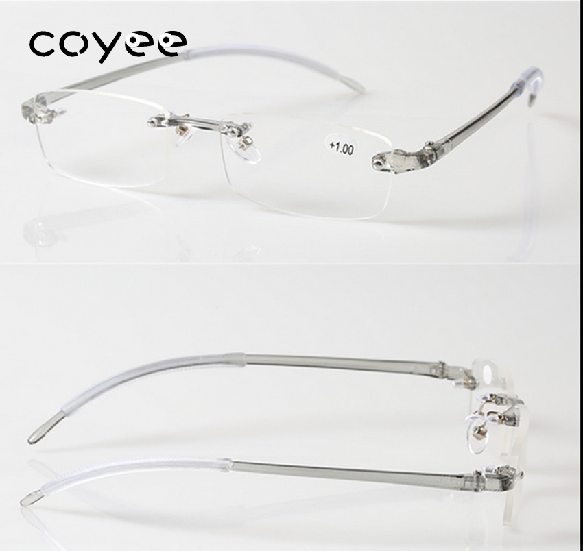 Coyee TR90 Reading Glasses Unisex Rimless Reader +0.5 +0.75 +1 +1.25 +1.5 +1.75 +2 +2.25 +2.5 +2.75 +3 +3.25 +3.5 +3.75+4 ...