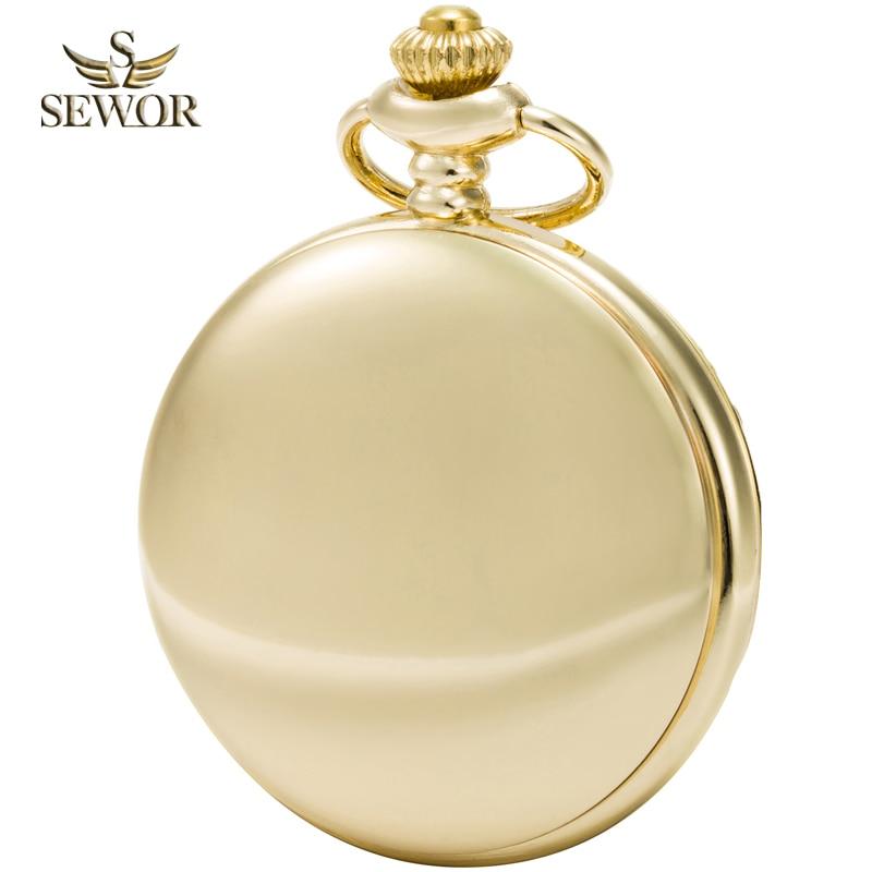 2017 SEWOR Top Brand New Fashion Gold números romanos Mens reloj de - Relojes de bolsillo