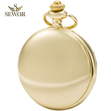 2017 SEWOR Top Brand New Fashion Gold Roman Numbers Mens Pocket Watch C193