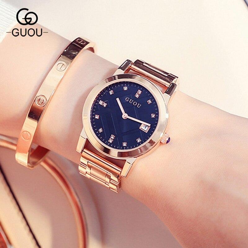 Top Marque GUOU Femmes De Luxe Strass Horloge Femelle Filles Robe Calendrier Bracelet Bracelet Quartz Montre Femme Montre-Bracelet Montres