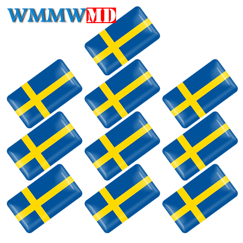 10Pcs Swedish Flag Steering Wheel 3D Epoxy Car Fit For Volvo V40 V60 S60L Shield Car Sticker Sweden National Emblem Car Styling