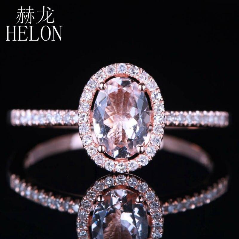 купить HELON Dreamlike Morganite 5X7mm Oval Shape Solid 14K Rose Gold Engagement Pave 0.18ct Genuine Diamonds Wedding Fine Jewelry Ring по цене 16265.84 рублей