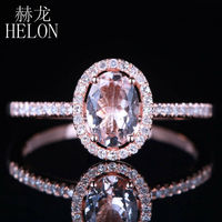 HELON Dreamlike Morganite 5X7mm Oval Shape Solid 14K Rose Gold Engagement Pave 0.18ct Genuine Diamonds Wedding Fine Jewelry Ring