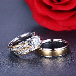 Image 4 - 結婚指輪カップルキュービックジルコニアリングセット女性チタンリング男性女性のためのアクセサリー 2019 約束 Godly 宝石
