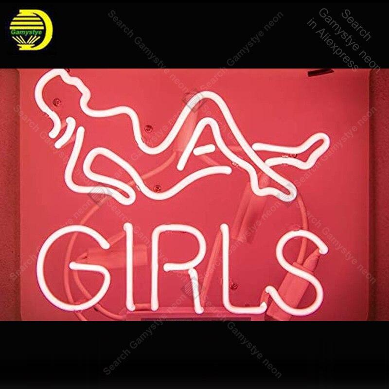 Enseigne au néon pour les filles ampoules au néon enseigne lampe Tube de verre véritable décorer bière chambre artisanat publicité néon lumière personnalisée personnaliser