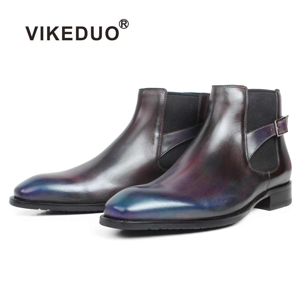VIKEDUO Ankle Boots Men Genuine Cow Skin Buckle Patina Square Toe Custom Made Flat Slip-On Leather Shoes Leather Chelsea Boots