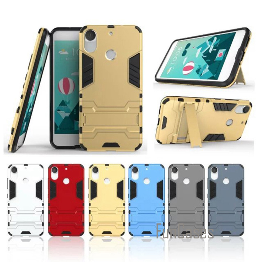 For HTC Desire 10 Pro Case Cover Plastic Silicon Kickstand 5.5 inch Anti Knock Back Armor Phone Bags Cases For HTC Desire 10 Pro