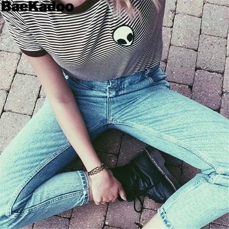 BAEKADOO  Summer Mujer  Print Short Sleeve Crop  Top Tee Aliens T-shirt