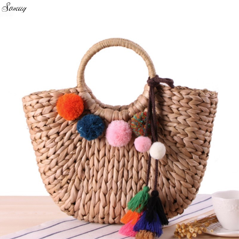 Beach Bag 2017 Summer Big Straw Bags Handmade Woven Tote Women Travel Handbags Luxury Designer Vintage Shopping Hand Bags hand straw tote handbag summer sunflower woven beach bag fashion large capacity women shopping bag patchwork flower straw bags